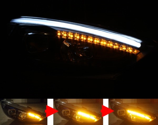 Scheinwerfer SET LIGHT-BAR SCHWARZ Ford Focus MK3 Facelift ('14-) sequentieller Blinker