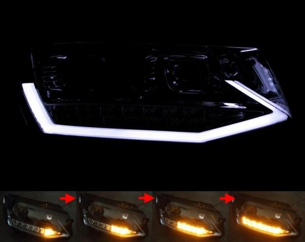 Scheinwerfer SET R87 Tagfahrlicht SCHWARZ VW T6 Transporter BAR sequentieller Blinker