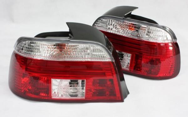 KLARGLAS-Rückleuchten SET für BMW 5er (E39) Limousine Vorfacelift ('95-'00) ROT/CLEAR