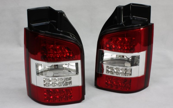 LED-Rückleuchten SET VW T5 (-2009) 2 Hecktüren ROT/CLEAR LED-Blinker