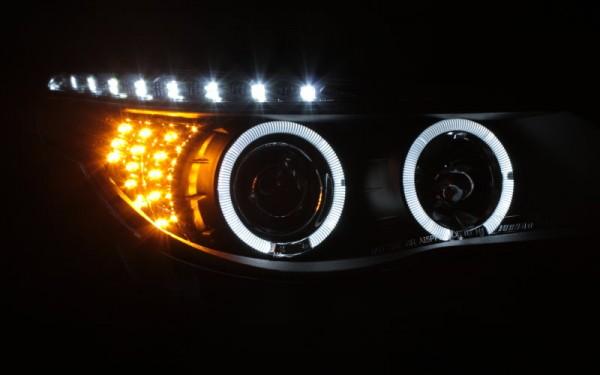 Scheinwerfer SET Tagfahrlicht-Look SCHWARZ BMW 5er (E60/E61) -'07 LED-Blinker