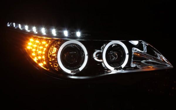 Scheinwerfer SET Tagfahrlicht-Look CHROM BMW 5er (E60/E61) -'07 LED-Blinker