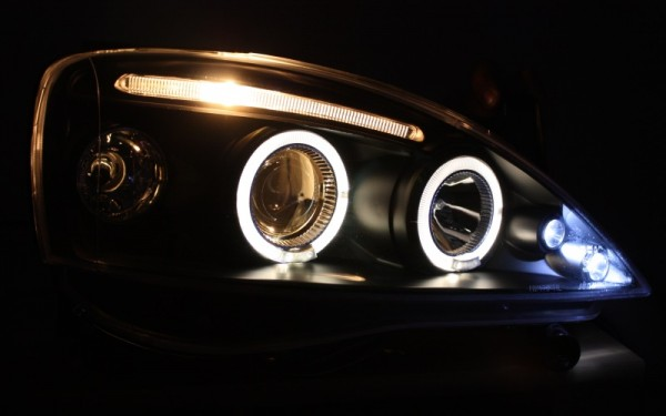 Scheinwerfer SET Standlichtringe SCHWARZ Opel Corsa C