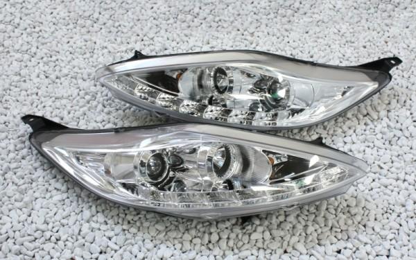 Scheinwerfer SET Tagfahrlicht-Look CHROM Ford Fiesta MK7 (JA8) Vorfacelift (-'13)
