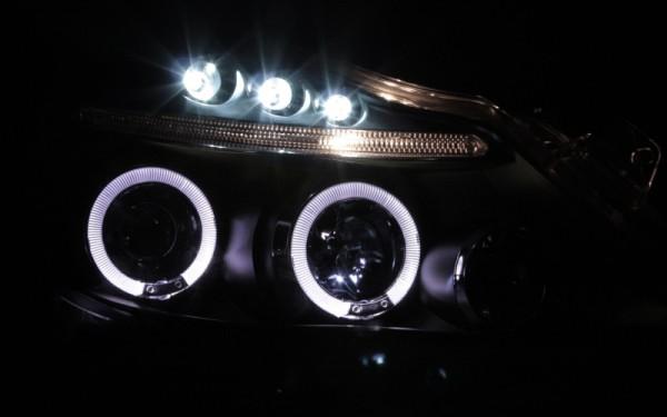 Scheinwerfer SET Standlichtringe SCHWARZ Opel Corsa D (-'11)