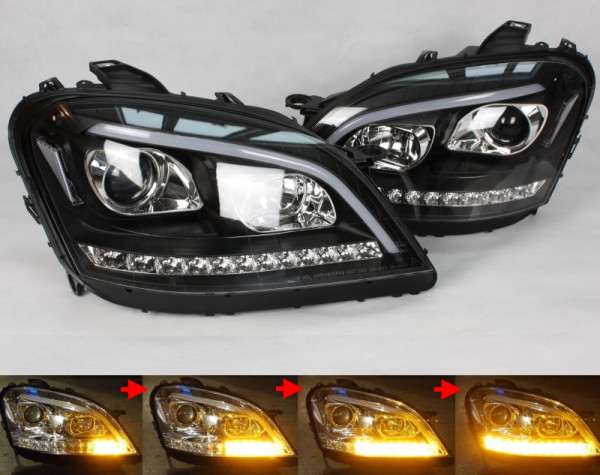 Scheinwerfer SET LIGHT-BAR SCHWARZ Mercedes-Benz M-Klasse W164 Vorfacelift ('05-'08) sequentieller B