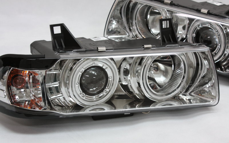 scheinwerfer set ccfl standlichtringe chrom bmw 3er e36. Black Bedroom Furniture Sets. Home Design Ideas