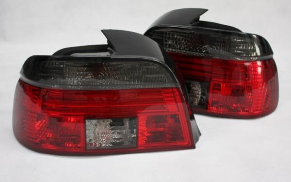 KLARGLAS-Rückleuchten SET für BMW 5er (E39) Limousine Vorfacelift ('95-'00) ROT/SMOKE