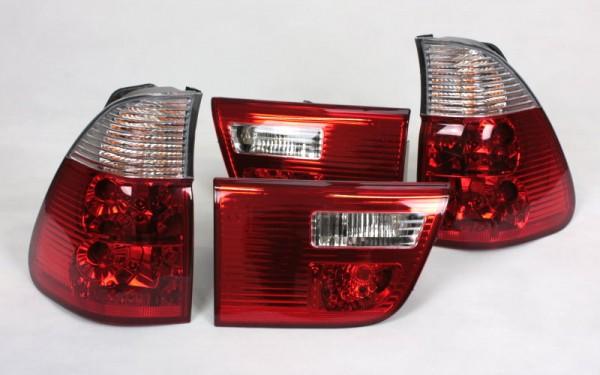 KLARGLAS-Rückleuchten SET für BMW X5 (E53) Vorfacelift (-'03) ROT/KLAR