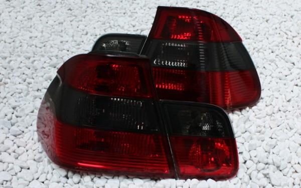 KLARGLAS-Rückleuchten SET BMW 3er (E46) Limousine ROT/SMOKE