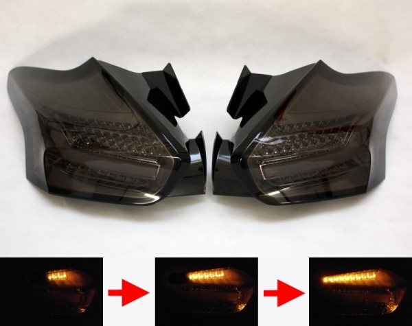 LED-BAR-Rückleuchten SET für Ford Focus MK3 (DYB, 2014-) 5-Türer CHROM/SMOKE sequentieller Blinker