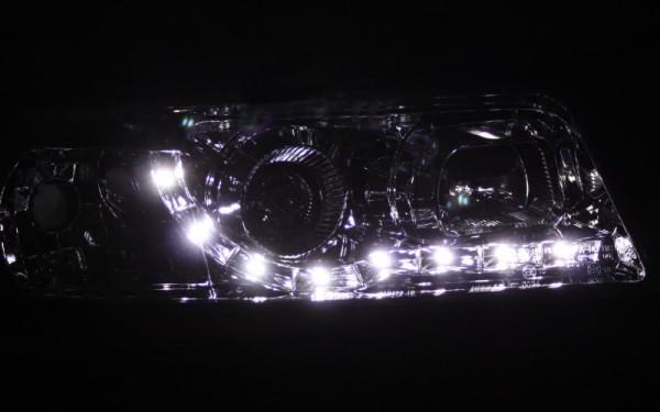 Scheinwerfer SET Tagfahrlicht-Look CHROM für Audi A4 (B5, '99-)