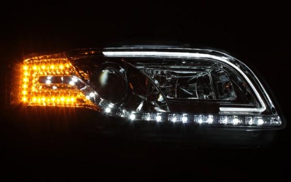 Scheinwerfer SET Tagfahrlicht-Look CHROM für Audi A4 (8E, B7) LED-Blinker
