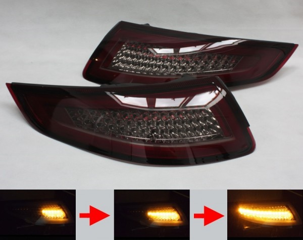 LED-BAR-Rückleuchten SET für Porsche 911 (997) -2008 ROT/SMOKE sequentieller Blinker