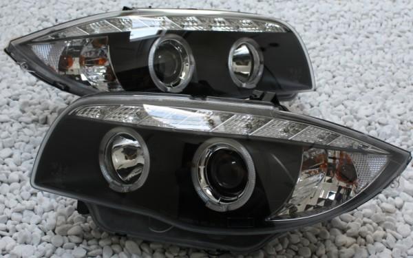 Scheinwerfer SET Tagfahrlicht-Look SCHWARZ BMW 1er (E81/E82/E87/E88/E81 LCI/E82 LCI/E87 LCI/E88 LCI)