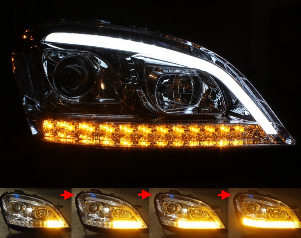 Scheinwerfer SET LIGHT-BAR CHROM Mercedes-Benz M-Klasse W164 Vorfacelift ('05-'08) sequentieller B