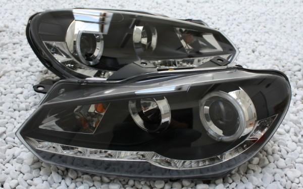 Scheinwerfer SET R87 Tagfahrlicht SCHWARZ VW Golf 6