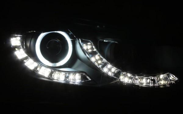 Scheinwerfer SET R87 Tagfahrlicht + CCFL Standlichtringe SCHWARZ VW Golf 6