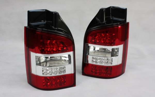 LED-Rückleuchten SET VW T5 (-2009) 1 Heckklappe mit LED-Blinker ROT/CLEAR