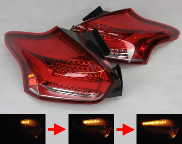 LED-BAR-Rückleuchten SET für Ford Focus MK3 (DYB, 2014-) 5-Türer ROT/KLAR sequentieller Blinker