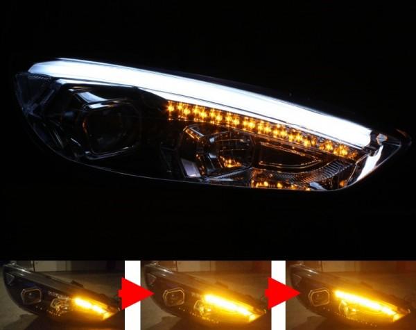 Scheinwerfer SET LIGHT-BAR CHROM Ford Focus MK3 Facelift ('14-) sequentieller Blinker