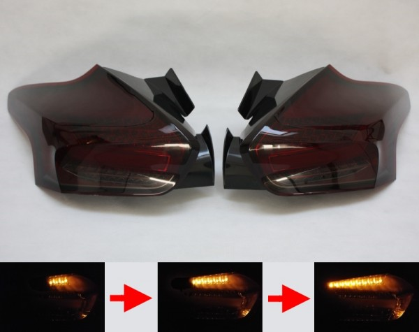 LED-BAR-Rückleuchten SET für Ford Focus MK3 (DYB, 2014-) 5-Türer ROT/SMOKE sequentieller Blinker