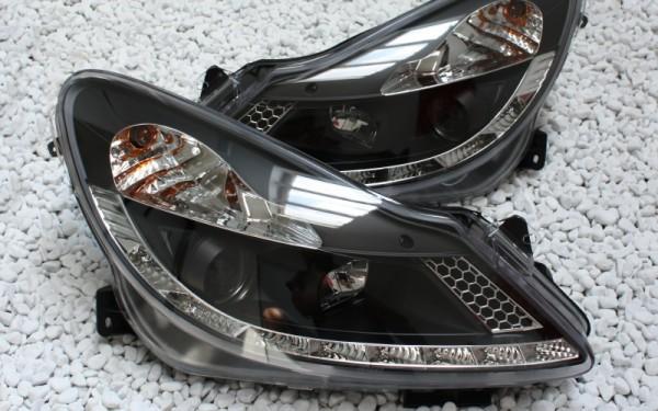 Scheinwerfer SET Tagfahrlicht-Look SCHWARZ Opel Corsa D (-'11)