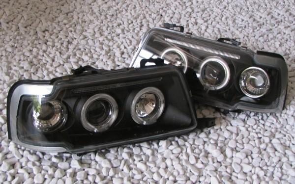 Scheinwerfer SET Standlichtringe SCHWARZ für Audi 80 (B4), S2, RS2, Cabrio (B3/Typ89), Coupe