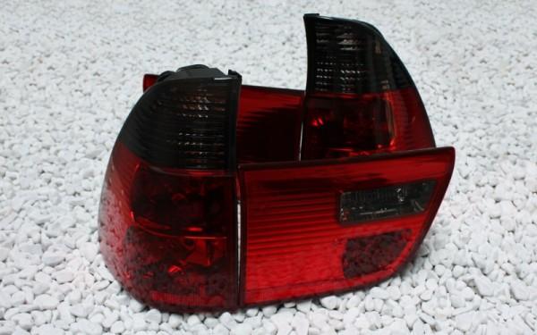 KLARGLAS-Rückleuchten SET für BMW X5 (E53) Vorfacelift (-'03) ROT/SMOKE